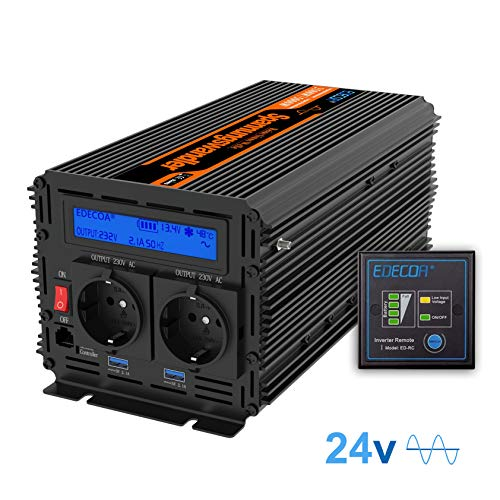EDECOA Inversor 24v 220v Onda Pura Transformador de Corriente 24v 230v Convertidor para Camion con Mando a Distancia