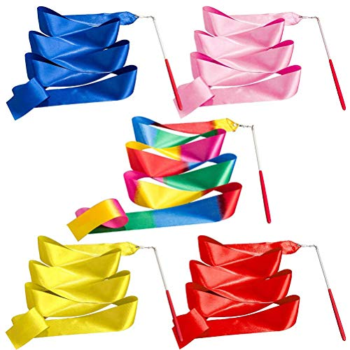 5PCS Dance Ribbons Streamers Artistic Streamer, Rhythmic Gymnastic Ribbon for Talent Shows, Artistic Dancing, Baton Twirling (Rainbow, Red, Yellow, Blue, Pink)
