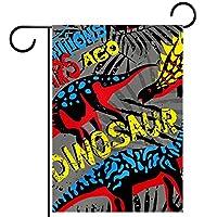 ガーデンヤードフラッグ両面 /12x18in/ ポリエステルウェルカムハウス旗バナー,多くの色の恐竜