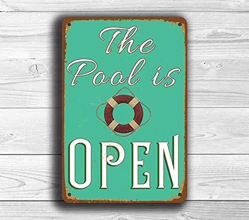 """""""Pool is Open""""-Blechschild, Schwimmbad-Dekoration, Schwimmbad-Dekoration, Schwimmbad-Kunst, Pool-Schild, 30,5 x 20,3 cm"""