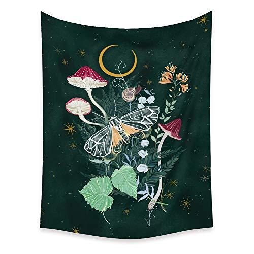 Tapiz de mariposa floral nórdico colgante de pared decoración del hogar Fondo de tela artística...