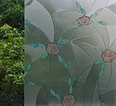 """VSUDO 1 Roll 17.7"""" by 78.7"""" Static Cling Window Film for Privacy, Rose Flower Pattern Window Tint Sticker for Home or Office (9.68 Sq. Ft Total)"""