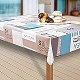 laro Wachstuch-Tischdecke Abwaschbar Garten-Tischdecke Wachstischdecke PVC Plastik-Tischdecken Eckig Meterware Wasserabweisend Abwischbar AS, Muster:Meer. blau/weiß, Größe:118-240 cm