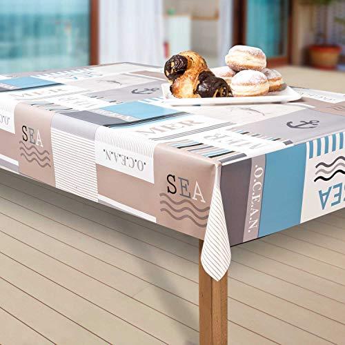 laro Wachstuch-Tischdecke Abwaschbar Garten-Tischdecke Wachstischdecke PVC Plastik-Tischdecken Eckig Meterware Wasserabweisend Abwischbar AS, Größe:100-140 cm, Muster:Meer, blau/weiß