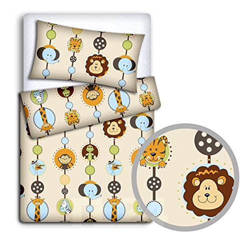 Baby Bedding Set Kussencase + Dekbed Cover 2Pc Naar Baby Cot Bed (Jungle)