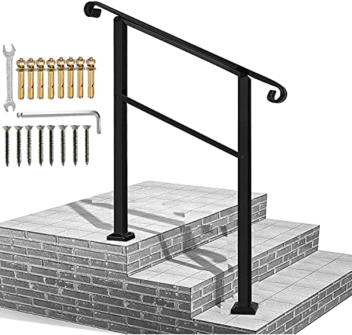 Handrails for Outdoor Steps,3 Step Handrail Fits 1 to 3 Steps Mattle Wrought Iron Handrail Stair Rail,Transitional Handrail with Installation Kit,Black Hand Rails for Outdoor Steps(Patent Pending)