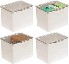 mDesign Plastic Stackable Household Storage Container with Lid - Organizer for Entryway, Closet, Kitchen, Bathroom, Garage Kid's Room, Craft Room - 4 Pack - Cream/Clear