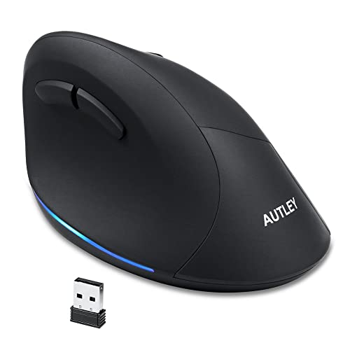 95479400a33 AUTLEY Wireless Vertical Mouse, 2.4G Optical Wireless Silent Ergonomic Mouse  for Large Hands,