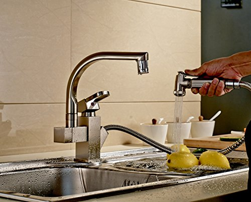 Rozinsanitary Brushed Nickel Led Swivel Spout Kitchen Sink Faucet Pull Out Spray Mixer Tap Buy Online In Guam At Desertcart