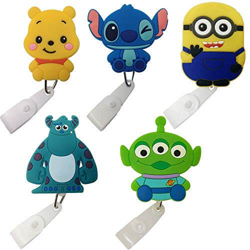 Cartoon Retractable Badge Reel - Holder for ID and Name Tag with Belt Clip, Improved Reel & Strap (Classics (Multi))