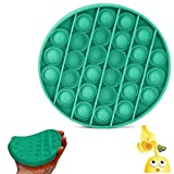MiuBond Pop Fidget Toy, Push pop pop Bubble Sensory Fidget Toy Autism Special Needs Stress Reliever, Squeeze Sensory Toy, Relieve Stress, Help Restore Emotions (Round-Green-New)