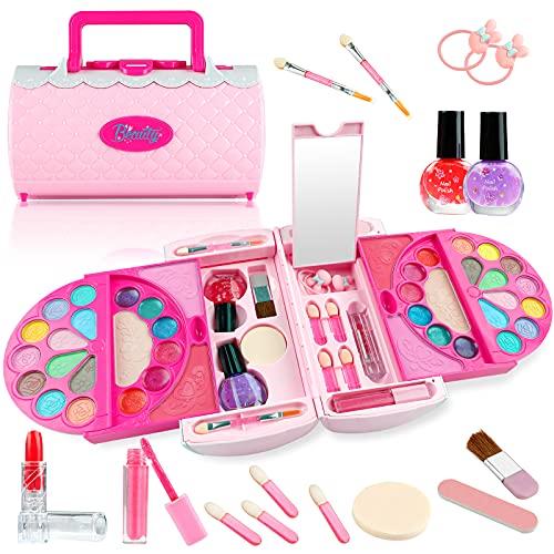 GiftInTheBox Kids Makeup kit for Girls, Washable Girls Makeup Kit for Kids with Portable Fashion Makeup Handbag, Non-Toxic Real Makeup Set for Girls - Pink