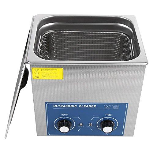 EBTOOLS Limpiador Ultrasónico con Cesta, Acero Inoxidable Tanque de Limpieza con Calefacción Unidad de Lavado con Ventiladorb Válvula de Bola de Drenaje Cronometrado Temperatura Ajustable 220V (14L)