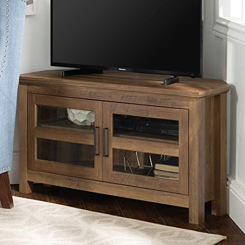 WE Furniture Modern Farmhouse Wood Corner Universal Stand for TV's up to 50' Flat Screen Living Room Storage Entertainment Center, Reclaimed Barnwood