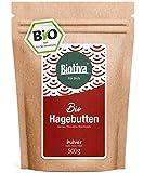 Hagebuttenpulver Bio - 500g, Rohkostqualität - aus ganzen Hagebutten gemahlen - Großpackung - Preisvorteil - Abgefüllt und kontrolliert in Deutschland (DE-ÖKO-005)