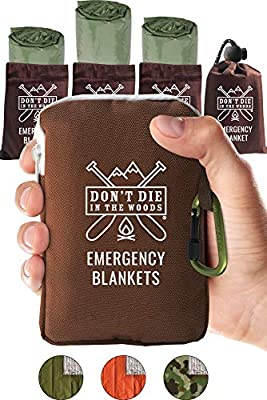 Don't Die In The Woods World's Toughest Emergency Blankets | 4 Pack Extra Large Thermal Mylar Foil Space Blanket for Hiking, Marathon Running, First Aid Kits, Outdoor Survival Gear | Green
