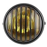 Qiilu Faros redondos de 7 pulgadas para motocicleta, bombilla halógena de 35 vatios, estilo retro, faro de moto, parrilla, lente, cubierta(Vidrio amarillo)