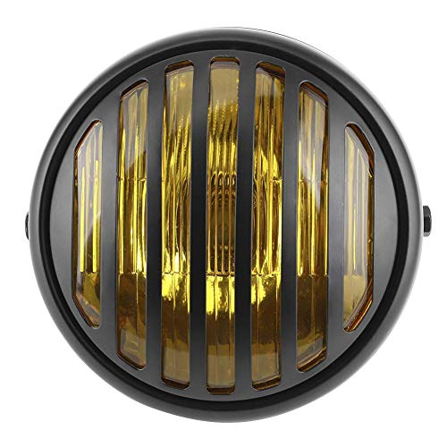 KIMISS Faro per motocicletta 7in Faro tondo per motocicletta Copriobiettivo per griglia Lampadina alogena da 35W Lampada per moto stile retrò(Vetro giallo)