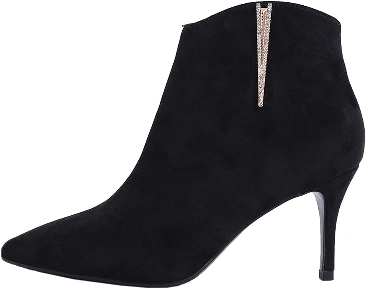 GTVERNH Women's shoes Side Zipper Velvet Small Heel Boots 7Cm Martin Boots Drill Pointed Head High-Heeled Bare Boots Women's shoes.