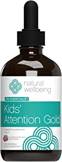 Natural Wellbeing - Kids' Attention Gold - Natural Support for Focus and Concentration - New Mixed Berry & Raspberry Flavo...