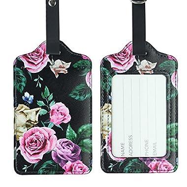 Lizimandu PU Leather Luggage Tags Suitcase Labels Bag Travel Accessories - Set of 2(Black Blackgound Rose)