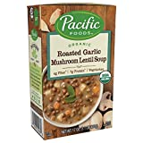 Pacific Foods Organic Roasted Garlic Mushroom Lentil Soup, 17 Ounce Cartons, 12-Pack