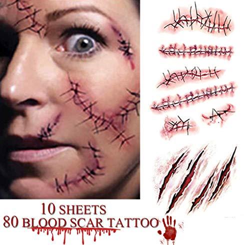 heekpek Halloween Zombie Cicatrices Tatuajes Pegatinas con Falso Scab Sangre Especial Fx Costume Maquillaje Props Tatuajes Temporales Variedad de Opciones (Estilo C)