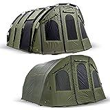 Lucx Bivvy + Winterskin 'Bigfoot' 2-6 Man XXL Angelzelt + Überwurf/Karpfenzelt Carp Dome + Overwrap Fishing Tent Camping Zelt