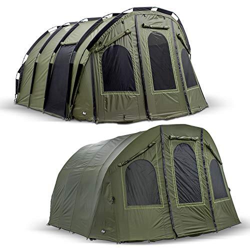 Lucx® Bivvy + Winterskin 'Bigfoot' 2-6 Man XXL Angelzelt + Überwurf/Karpfenzelt Carp Dome + Overwrap Fishing Tent Camping Zelt