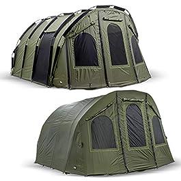 Lucx® Bivouac + peau d'hiver Bigfoot 2-6 Man XXL + Tente de pêche + Couvre-carpe en dôme + tente de pêche + tente de camping