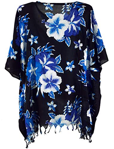 Guru-Shop, Poncho, Caftan, Tuniek, Mini-jurk, Dames Oversized Tuniek, Zwart/blauw, Size:One Size, Blouses Tunieken