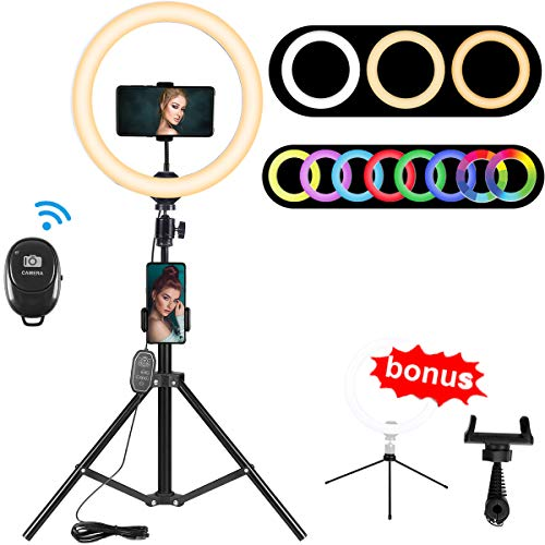 "10.2"" RGB Selfie Ring Light, RGB Flash Ring Light with Tripod Stand & Cell Phone Holder, LED Dimmable Desktop Beauty Selfie Light for YouTube Video, Live Stream, Makeup - for iPhone & Android"