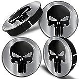 SkinoEu® 4 x 60mm Universal Tapas de Rueda de Centro Punisher Skull Cráneo...