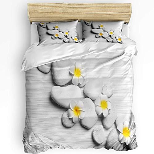 HARXISE Juego de Ropa de Cama Transpirable de 3 Piezas, Juegos de Funda nórdica, Flores Amarillas Frangipani Gris 1 Funda de edredón, 2 Fundas de Almohada