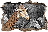 Pegatinas pared - Murales Bonita jirafa Extraíble Agujero rasgado Decoración Papel tapiz Arte de pvc Arte de la escuela infantil Decoración de la pared del cuarto de niños - 50x70cm