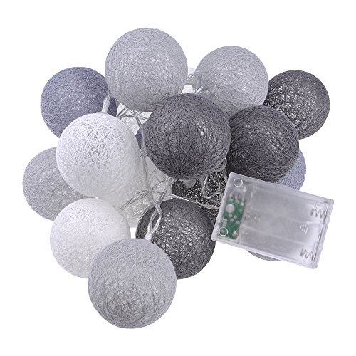 Huayang Baumwolle Kugel Schnur Licht LED Nachtlicht Batteriebetrieben Haus Dekoration Grau