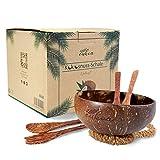 Eukoa - Juego de 2 cuencos de coco con cubiertos, de coco auténtico, hecho a mano, vegano, respetuoso con el medio ambiente, 100% natural, pulido con aceite de coco | sin plástico | cuenco de coco