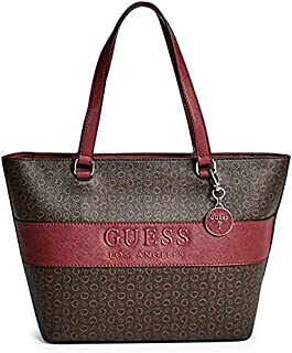 Guess Factory Women's Boscano Carryall Stylish Elegant Tote, Hand-Bag/Shoulder-Bag Pebble-Leather – Brown