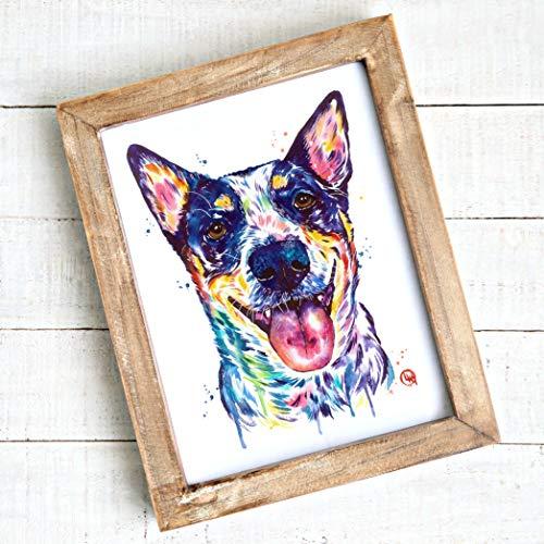 Blue Heeler/Australian Cattle Dog Wall Art by Whitehouse Art | Bedroom Decor, Dog Mom Gifts, Dog Decor| Professional Print of Australian Cattle Dog Original Watercolor | Dog Memorial Gift | 5 Sizes