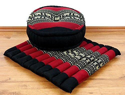 Livasia Set de Yoga/méditation, 1 x oreillers zafu (Oreiller de Yoga) + 1 x Coussin (Coussin de méditation) avec du kapok Pur, Ensemble Favorable