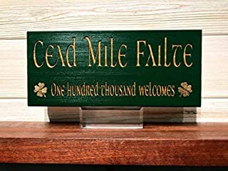 weewen Cead Mile Failte Block Laser Engraved Personalized Custom Wooden Sign Crafts for Living Room Decorative