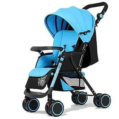 MMM @ Baby Trolley Alto Paisaje Puede recostarse Ultra-luz Portable Fold 1-3 años de Edad Baby Baby Baby Carruaje de Alto Carbono de Acero Paraguas Coche Carretilla (Color : Blue - Black Tube)