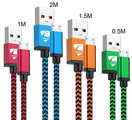 Cable Micro USB Aioneus 4 Pack [0.5M 1M 1.5M 2M] Nylon 2.4A Carga Rápida Cable Android USB 2.0 Cable Cargador Movil para Samsung S5/S6/S7/J5/J7 Huawei Nokia Nexus Sony Tablet PS4.