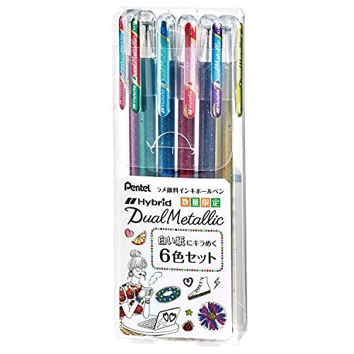 ぺんてる ラメボールペン Dual Metallic K110-6STA 白い紙にキラめく6色セット
