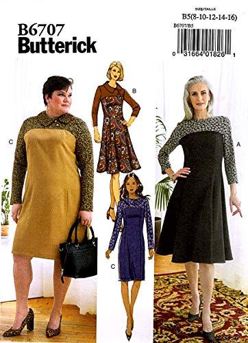 Vlinderpapier Patroon-B6707B5-MISSES/Plus Maten-jurk, Wit, B5 (8-10-12-14-16)