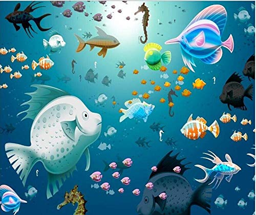WGBHQ 3D Mural verwijderbaar zelfklevend Wallpaper-Wall Decoration - Mooie Underwater World Aquarium Landscape Family Living Room Bedroom Office Children Room Decoration Wallpape (W) 350x(H)256cm