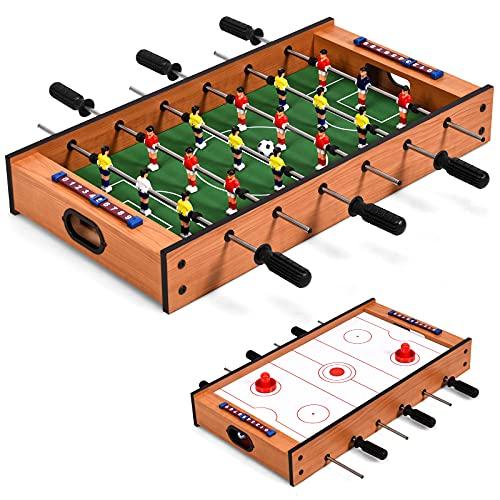 DREAMADE 2 in 1 Multi- Spieltisch, Mini Kickertisch Air Hockeytisch aus Holz & Eisenrohr, Fußballtisch Game Tisch mit Rutschfestem Griff, Tischkicker für die Ganze Familie, für Kinder & Erwachsene