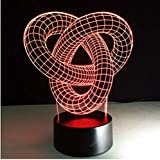 JNTY Artistic Abstraction Loop Knot Modern 3D USB Night Light Colorful Led Desk Table Light Lamp for Home Bedroom Wedding Decoration