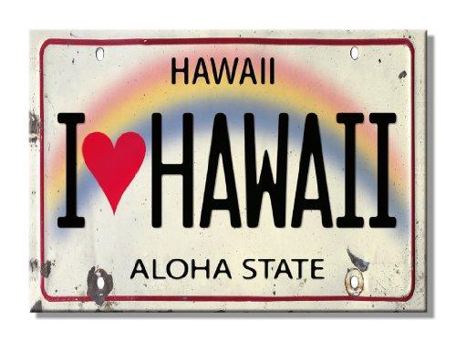 Ímã de geladeira da Pacifica Island Art - Placa de licença Havaí I Heart Love