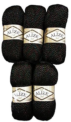 Alize 5 x 100 g Glitzerwolle SAL zum Stricken und Häkeln, 500 Gramm Metallic – Wolle (schwarz 60-03)